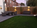 Porcelain patio in Penwortham - showing fence lights