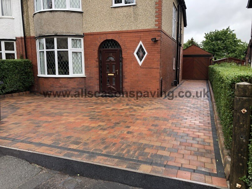 front of house with block paving by all seasons paving preston