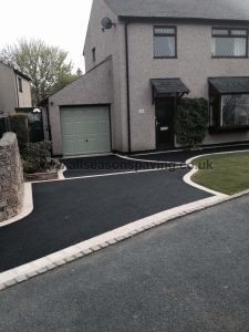 sienna stone border on tarmac driveway in Morecambe